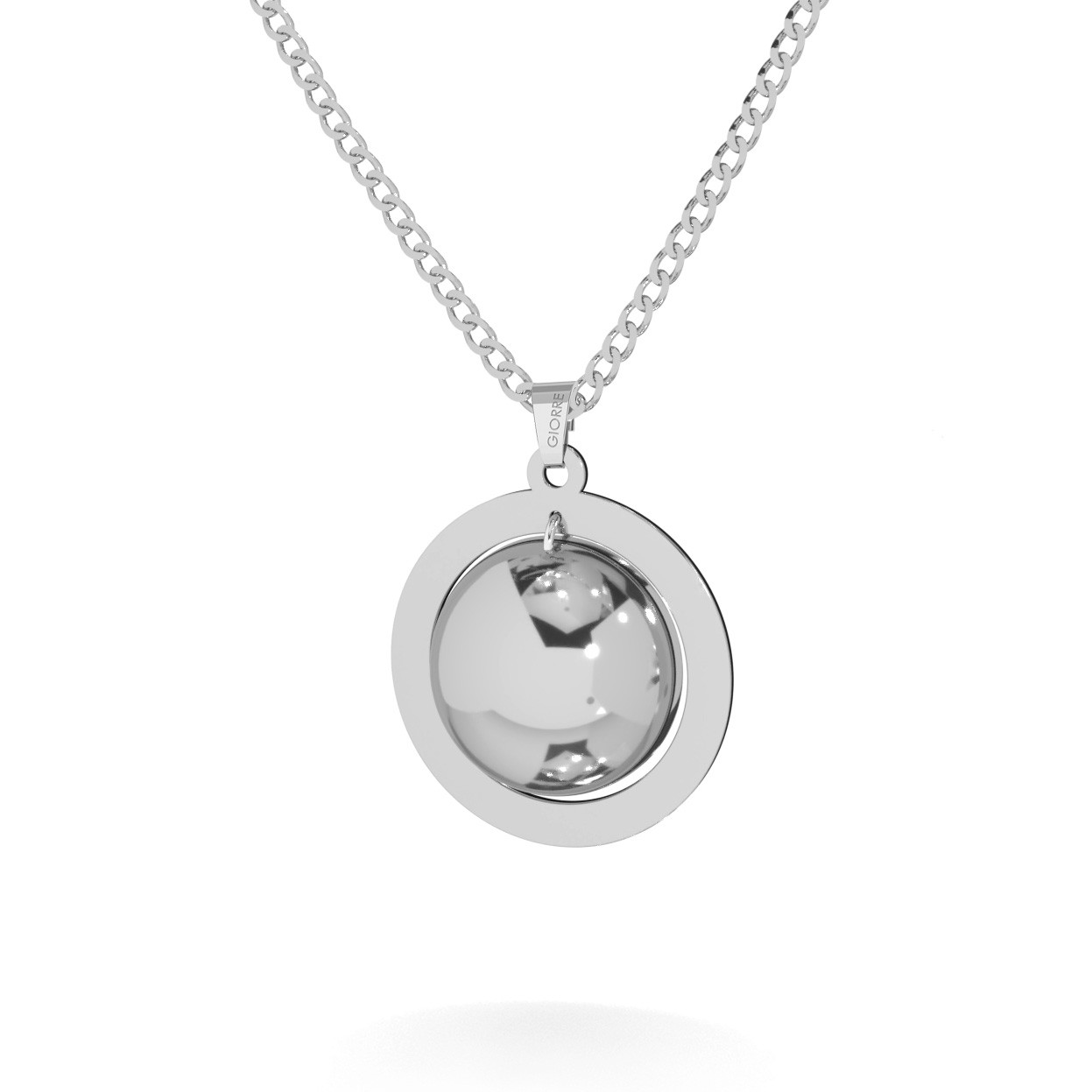 Round necklace with Your letter sterling silver 925
