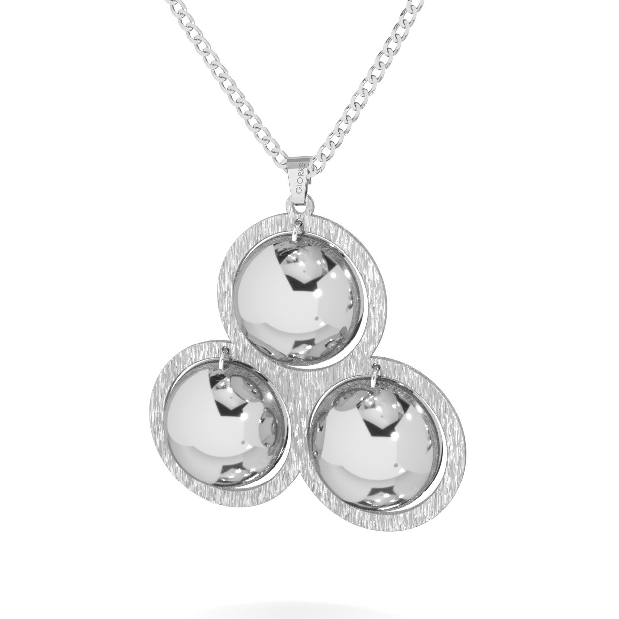Srebrny naszyjnik trójkąt wypukłe blaszki srebro 925
