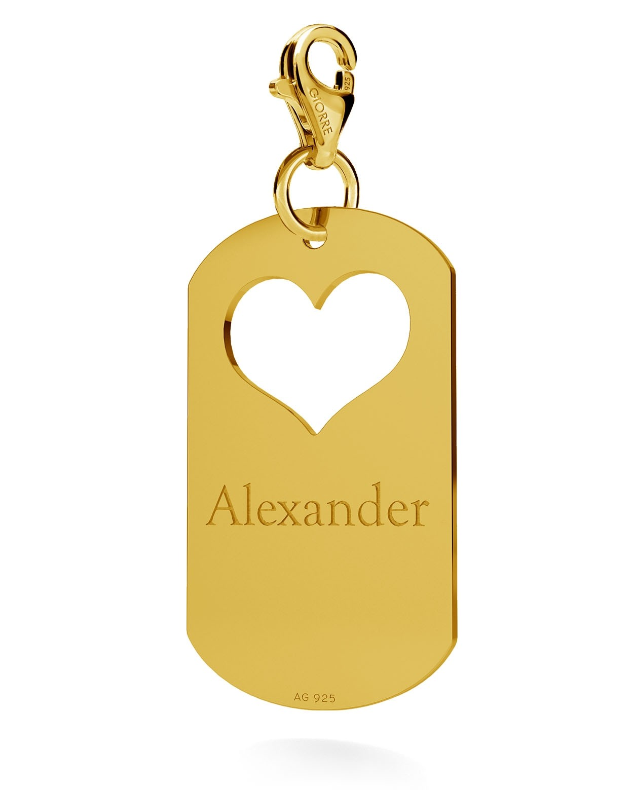 CHARM 76, HEART DOG TAG WITH ENGRAVE SILVER 925,  RHODIUM OR GOLD PLATED