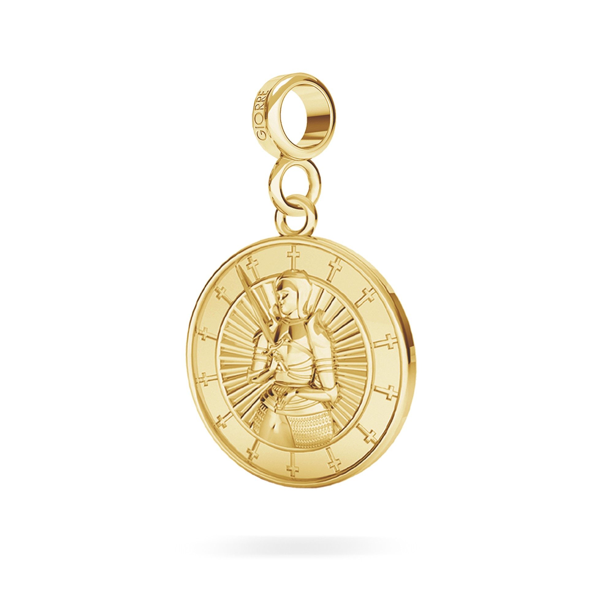 Joanna D'arc srebrna moneta charms zawieszka beads 925