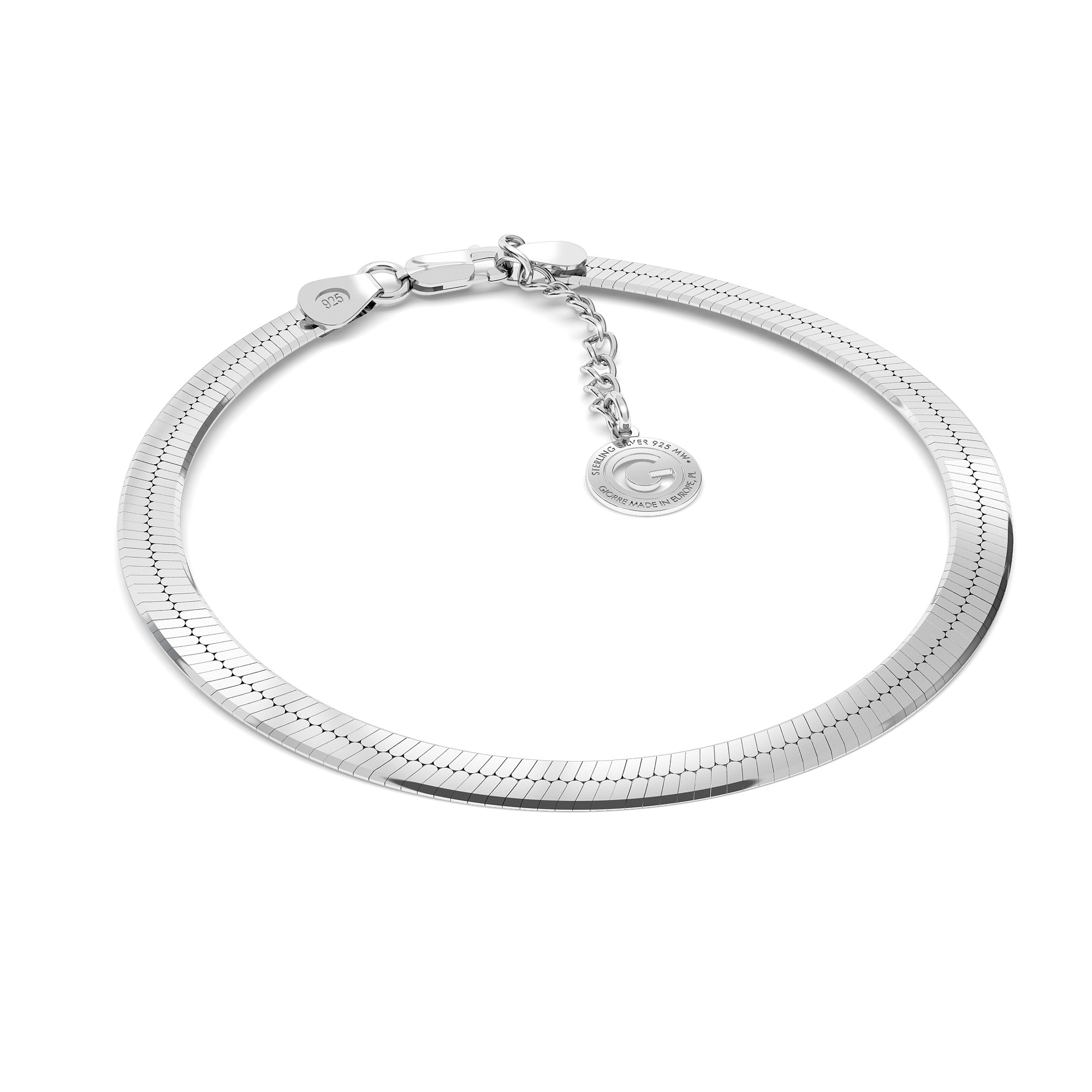 Silver bracelet flat chain sterling silver 925