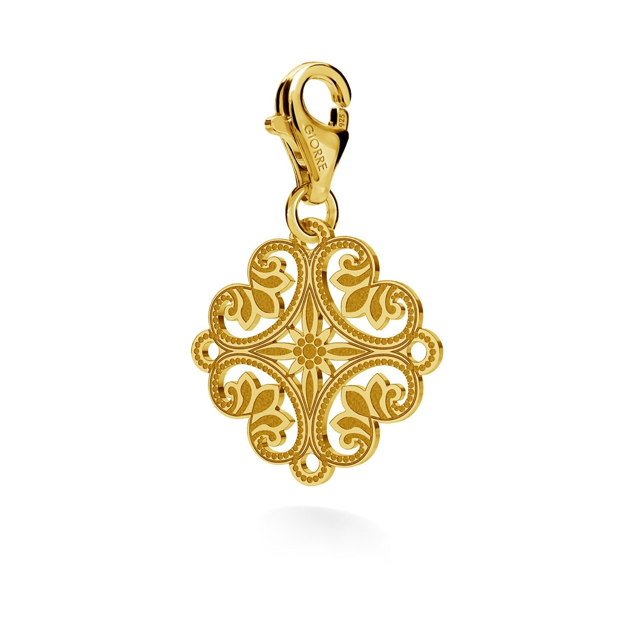 CHARM 103, BOHO ROSETTE, STERLING SILVER (925) RHODIUM OR GOLD PLATED