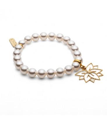 Bransoletka z perełkami i zawieszką Kwiat Lotosu, Swarovski, srebro, YA