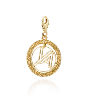 Srebrny medalion – charms o strukturze vulkanitu z logo YA