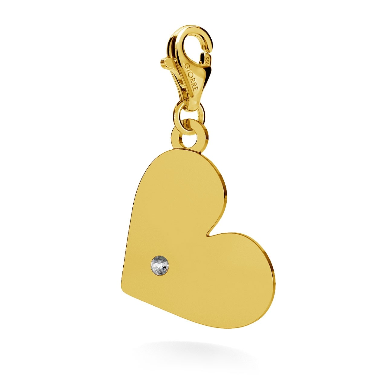 CHARM 101, HEART WITH ENGRAVE, SWAROVSKI 2038 SS 6, STERLING SILVER (925) RHODIUM OR GOLD PLATED