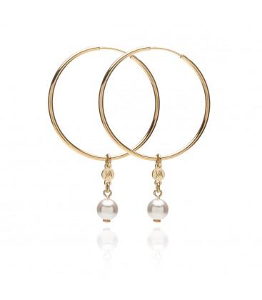 Hoop earrings with balls, YA, sterling silver 925
