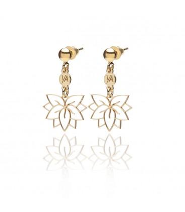 Kolczyki sztyfty Kwiat Lotosu z blaszką, logo kolekcji YA, srebro