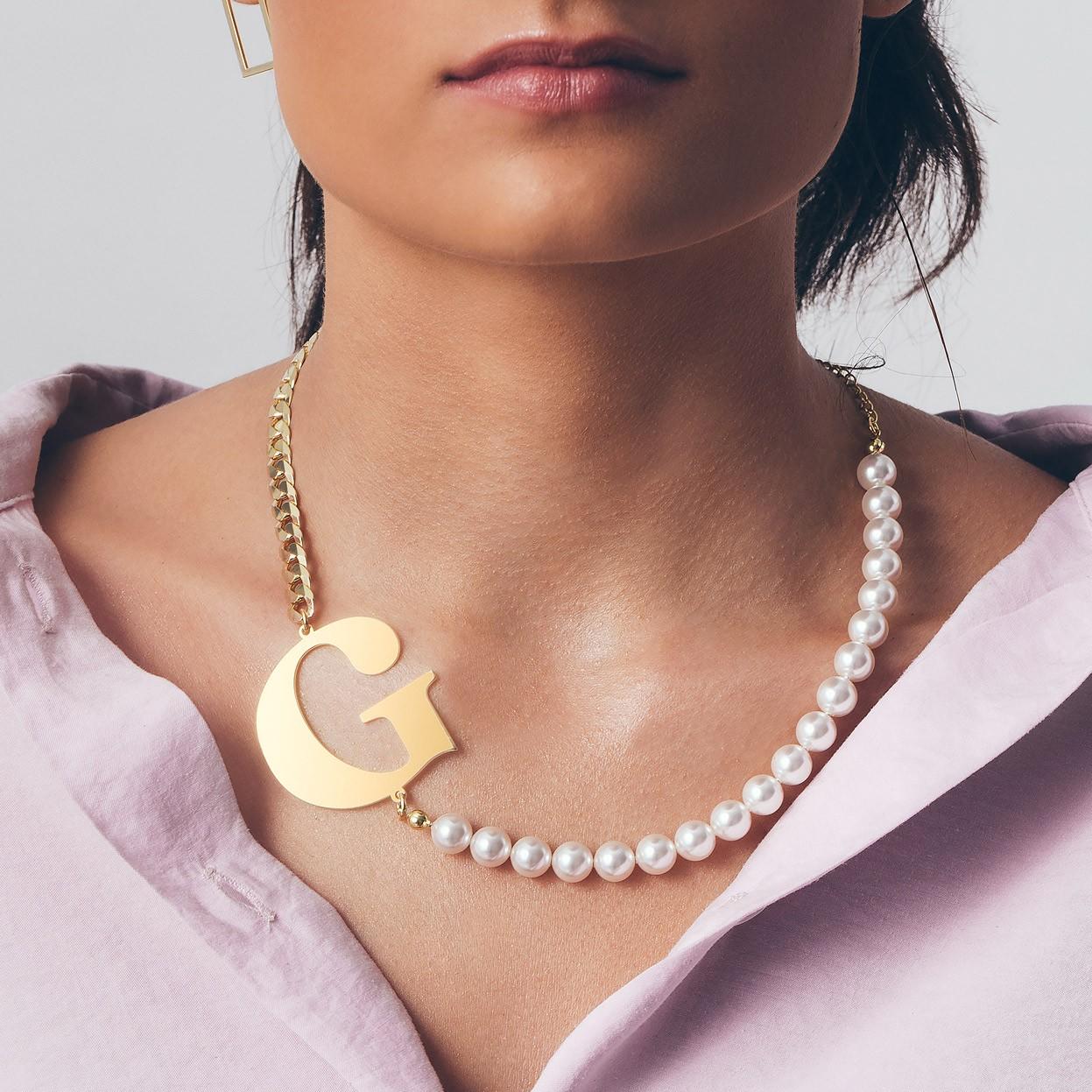 Perłowy choker z dowolną dużą literą, srebro 925, Swarovski