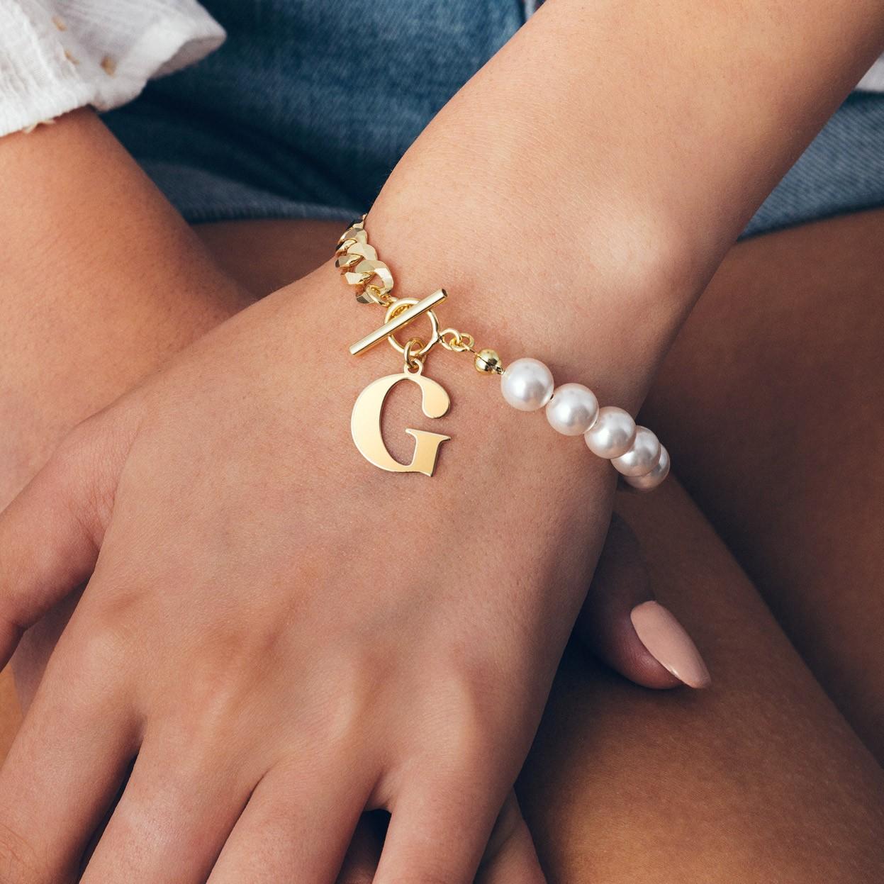Pulsera de perlas con carta, plata 925
