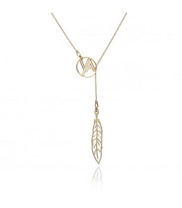 Srebrny naszyjnik piórko z medalionem, celebrytka, kolekcja YA