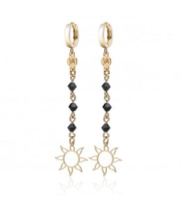 Heart with pearls long earrings YA 925