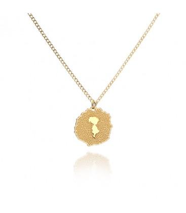 Srebrny naszyjnik z medalionem Baby Girl, struktura vulkanitu, grawer, YA