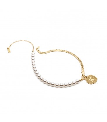 Pearl choker with letter, YA 925
