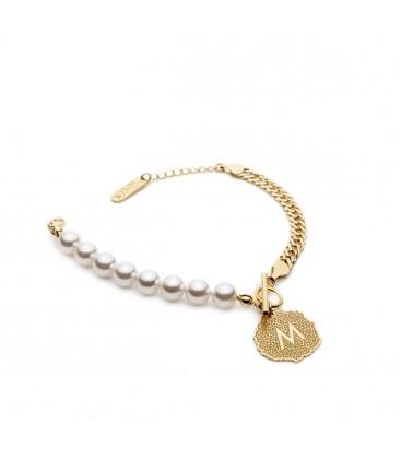 Bransoletka z perłami z literą w medalionie, Swarovski, pancerka, srebro 925