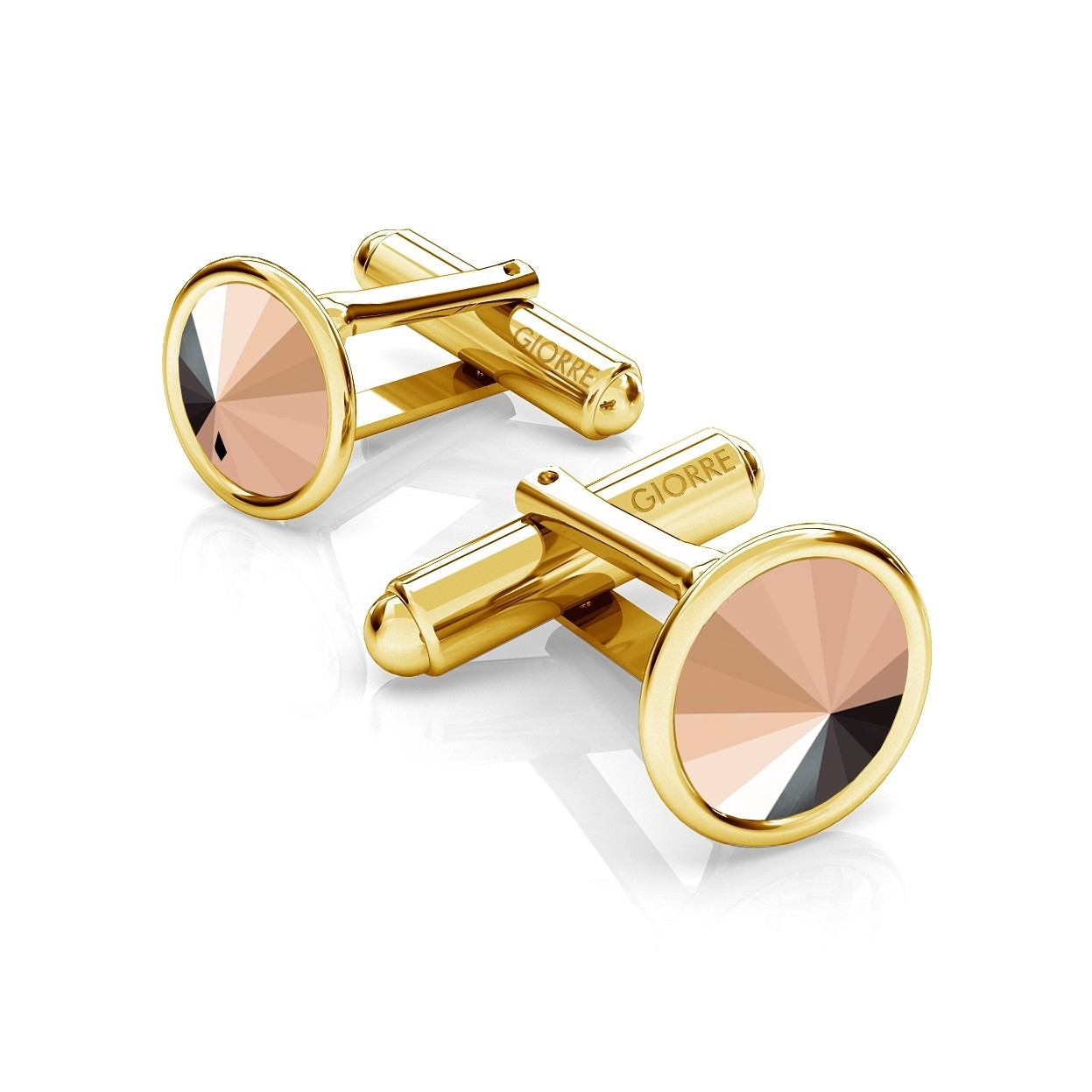 RIVOLI CUFFLINKS, SWAROVSKI 1122 MM 10, SILVER 925, RHODIUM OR GOLD PLATED