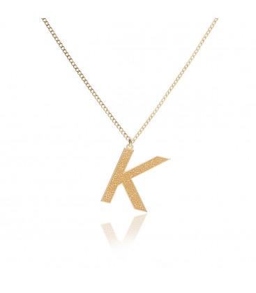 Srebrny naszyjnik z dużą literą z kolekcji YA, łańcuszek pancerka