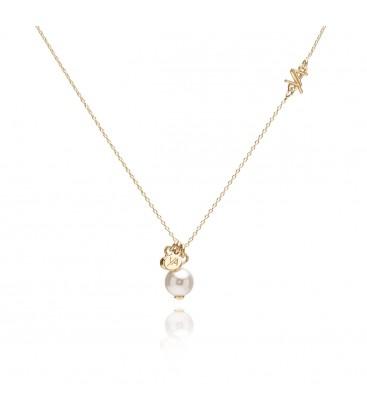 Srebrny łańcuszek z perłą Swarovskiego i zawieszką z logo YA