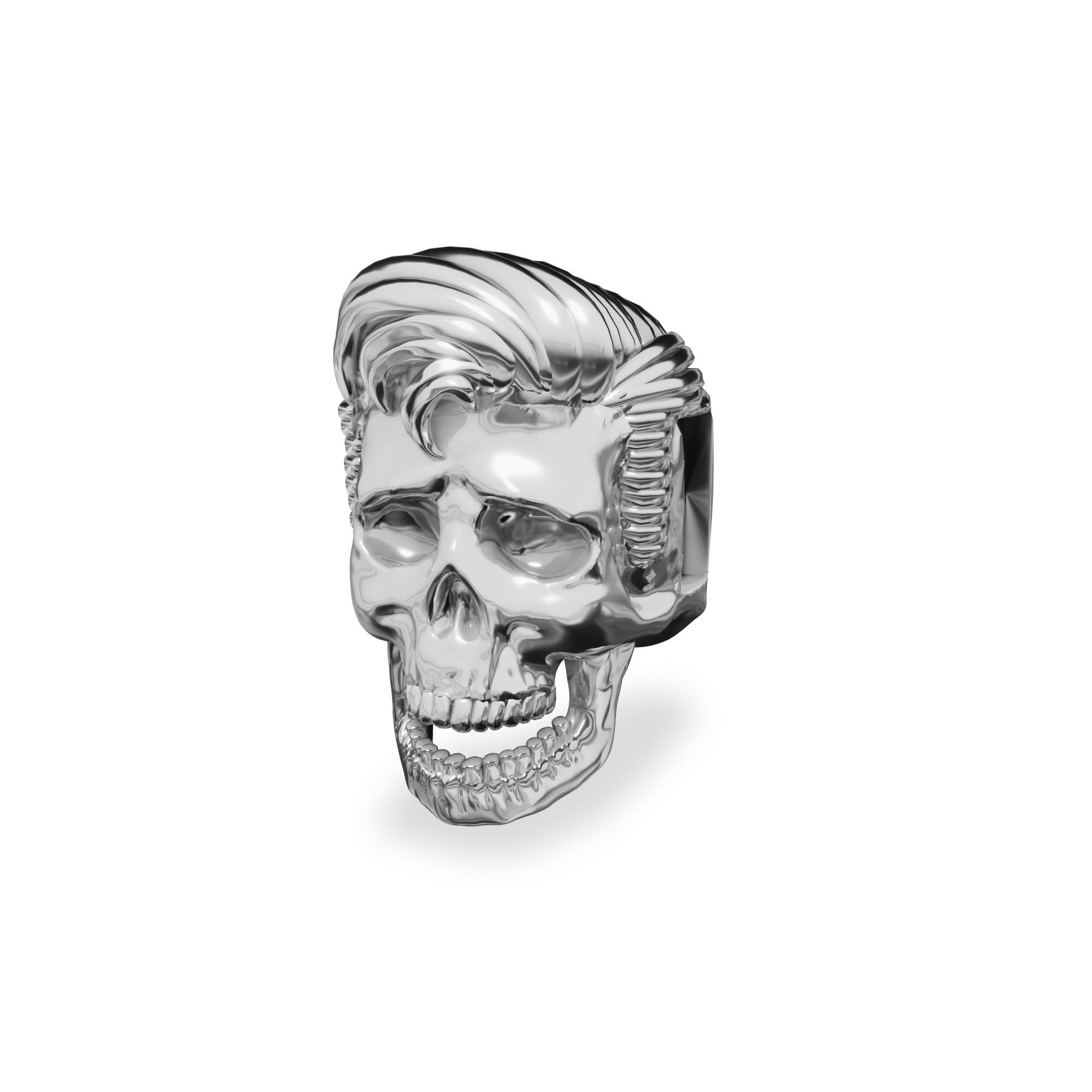 Silver spacer devil SKULL beads 925