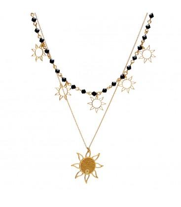 Srebrny podwójny choker Wschód Słońca z kryształami Swarovski