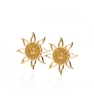 Srebrne kolczyki sztyfty Słońce z literkami, czcionka Katarzyny Cichopek, YA