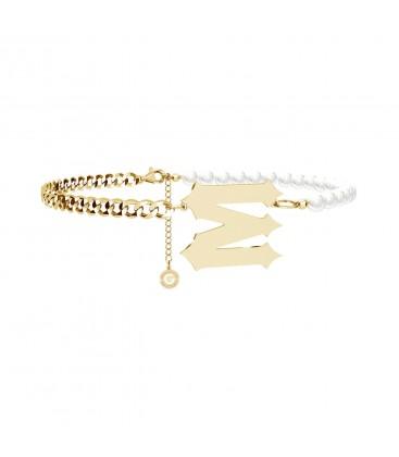 Srebrny perłowy choker z poprzeczną literą 925 Mon Défi