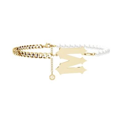 Girocollo di perle con lettera argento 925