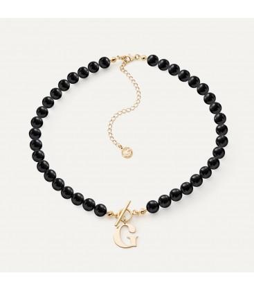 Girocollo di nero perle con lettera argento 925