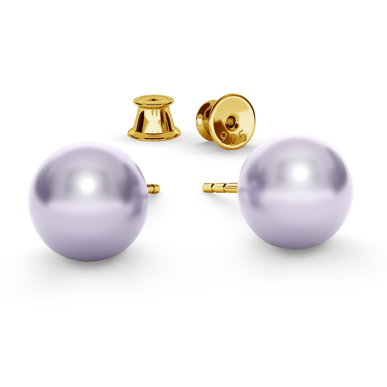 PEARL EARRINGS, SWAROVSKI 5810 MM 8, STERLING SILVER (925) RHODIUM OR GOLD PLATED