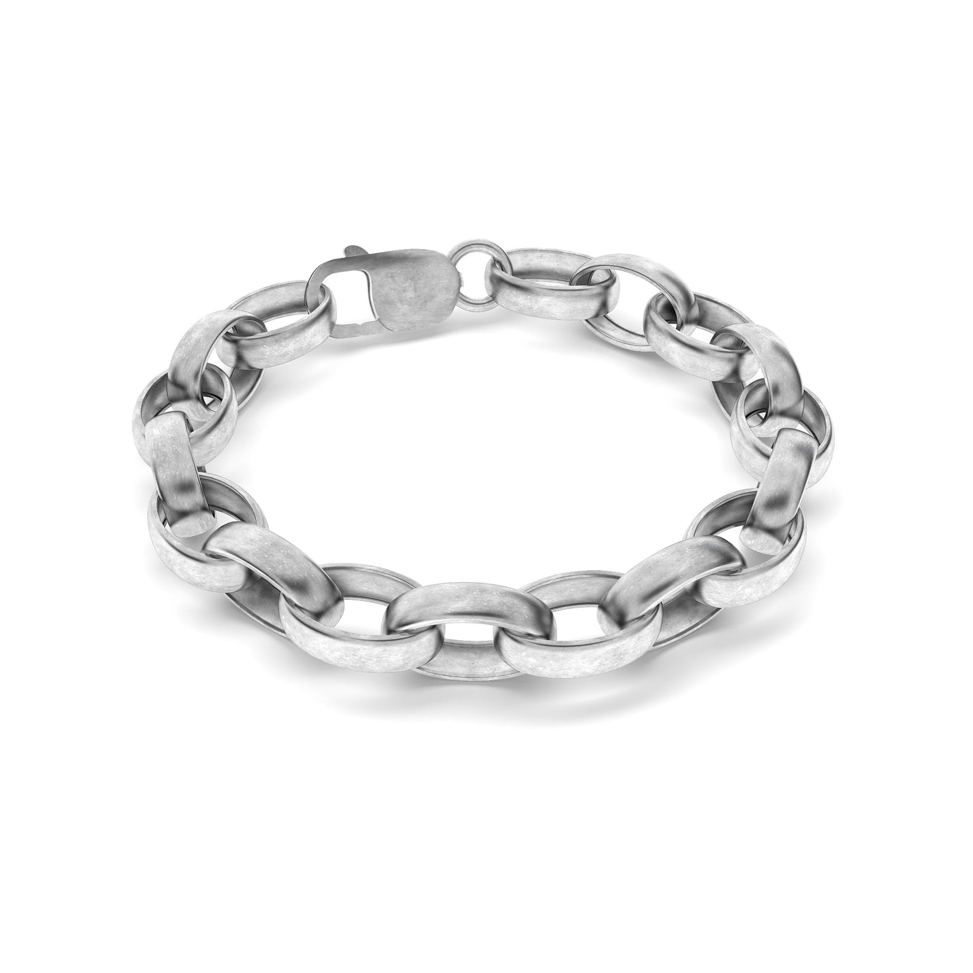 Srebrny gruba bransoletka satynowana 925