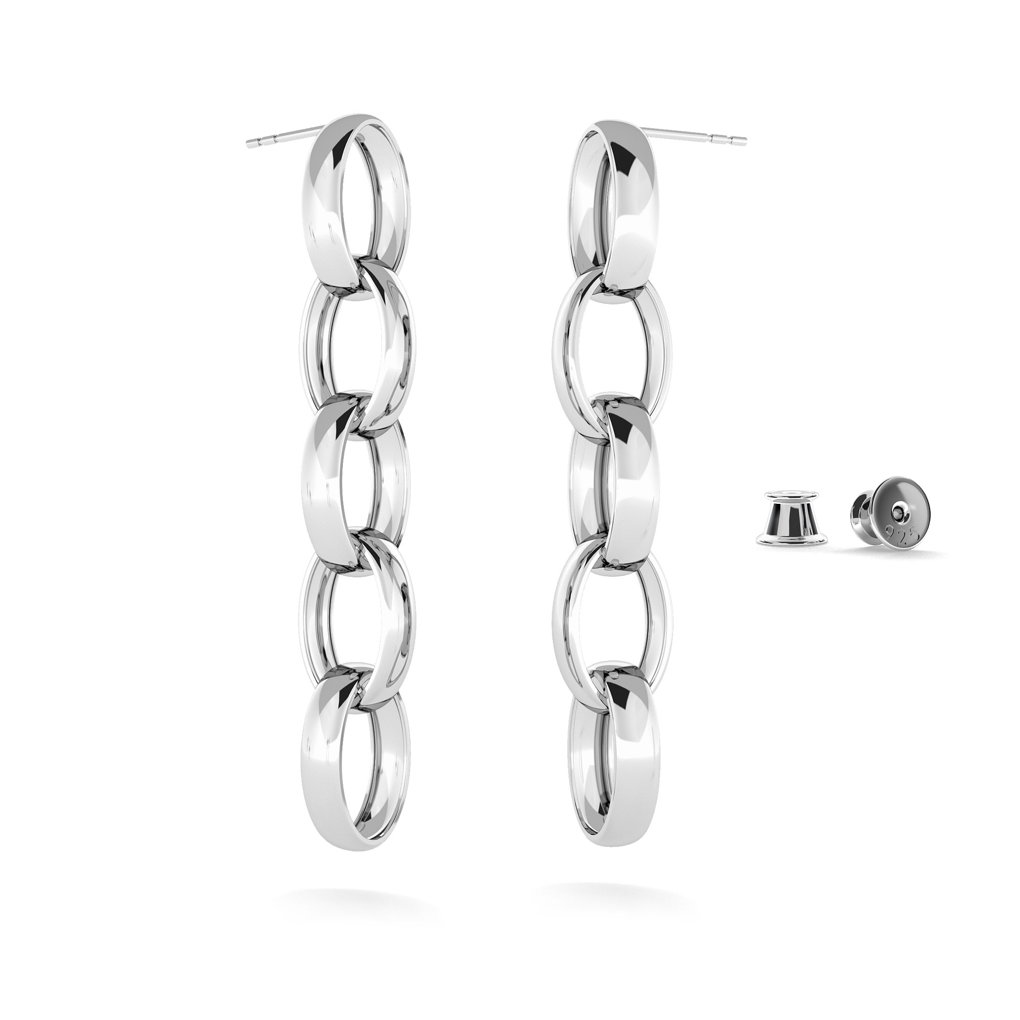 Sterling silver long earrings 925