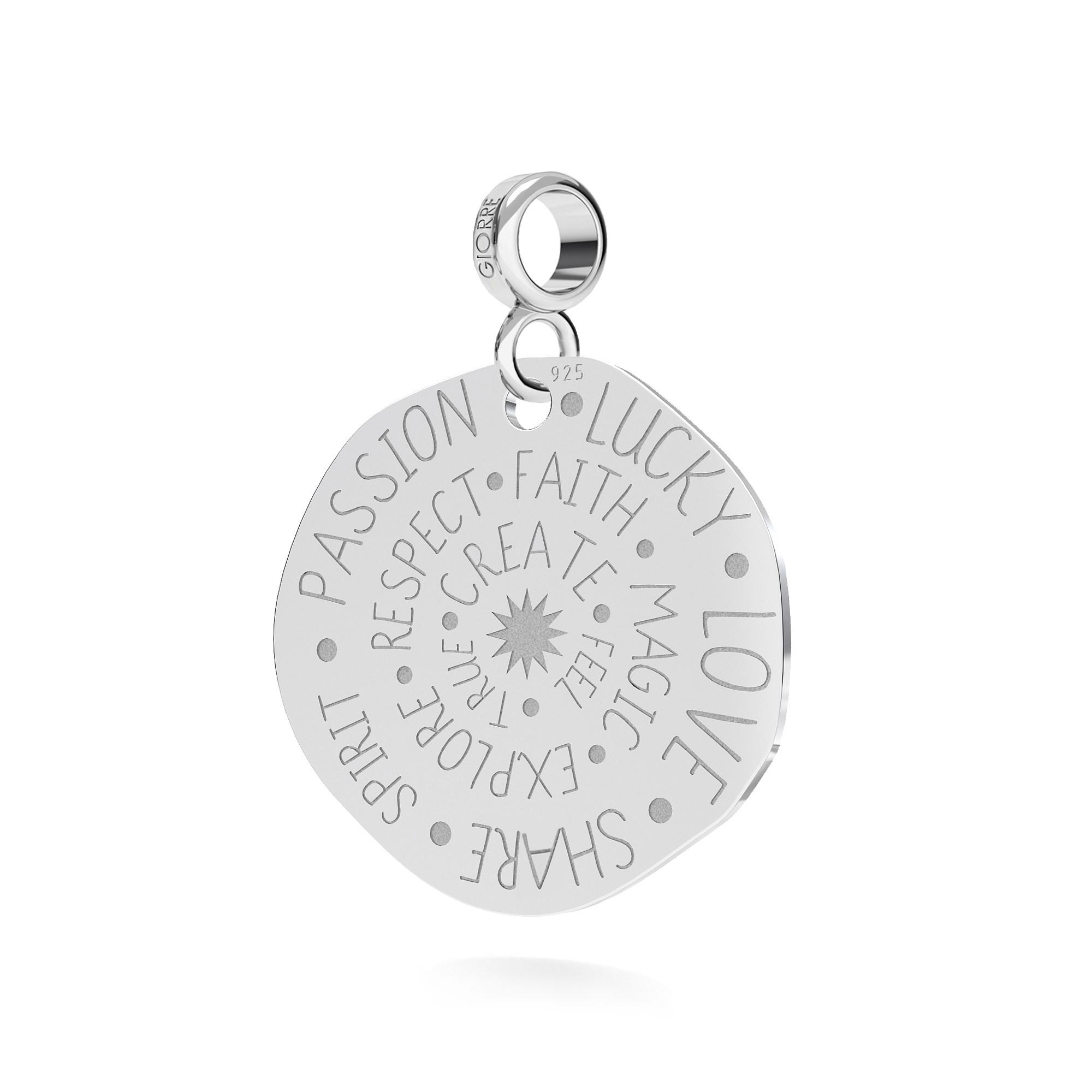 Srebrna moneta talizman charms zawieszka beads 925