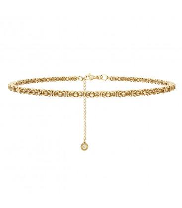 Ręcznie składany choker łańcuszek bizantyna splot królewski, srebro 925
