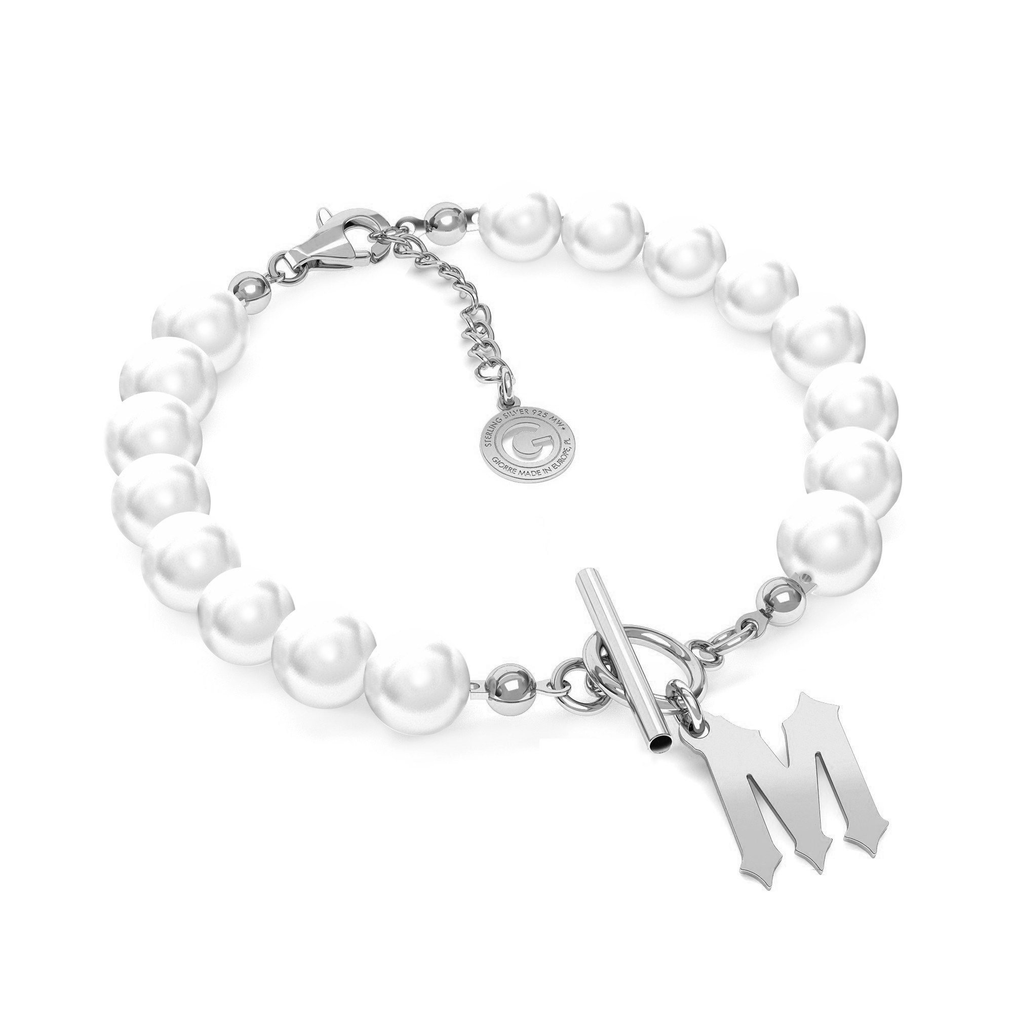 Pearls bracelet with your letter MON DÉF, Silver 925