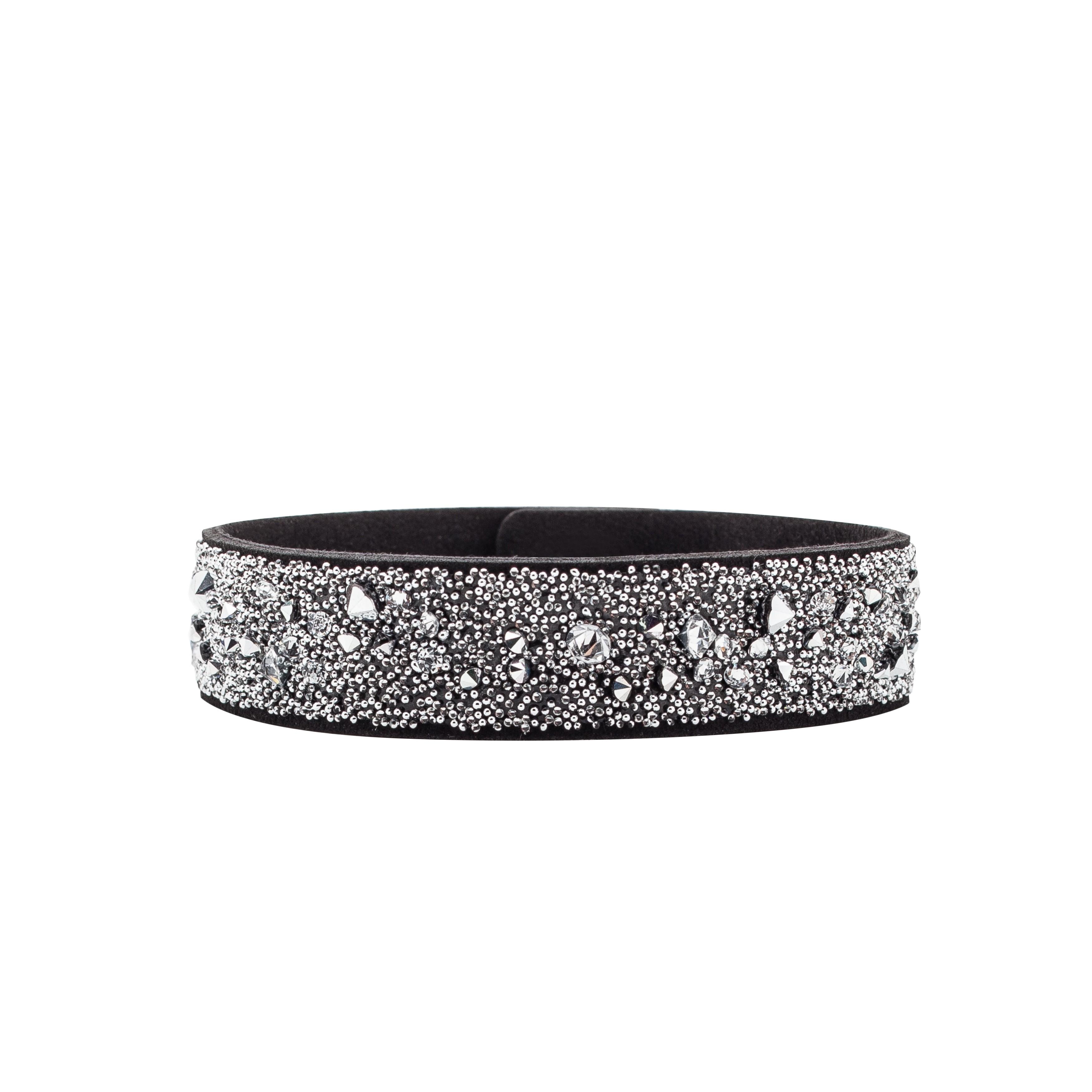 Italian Alcantara bracelet with swarovski stones - MODEL 1