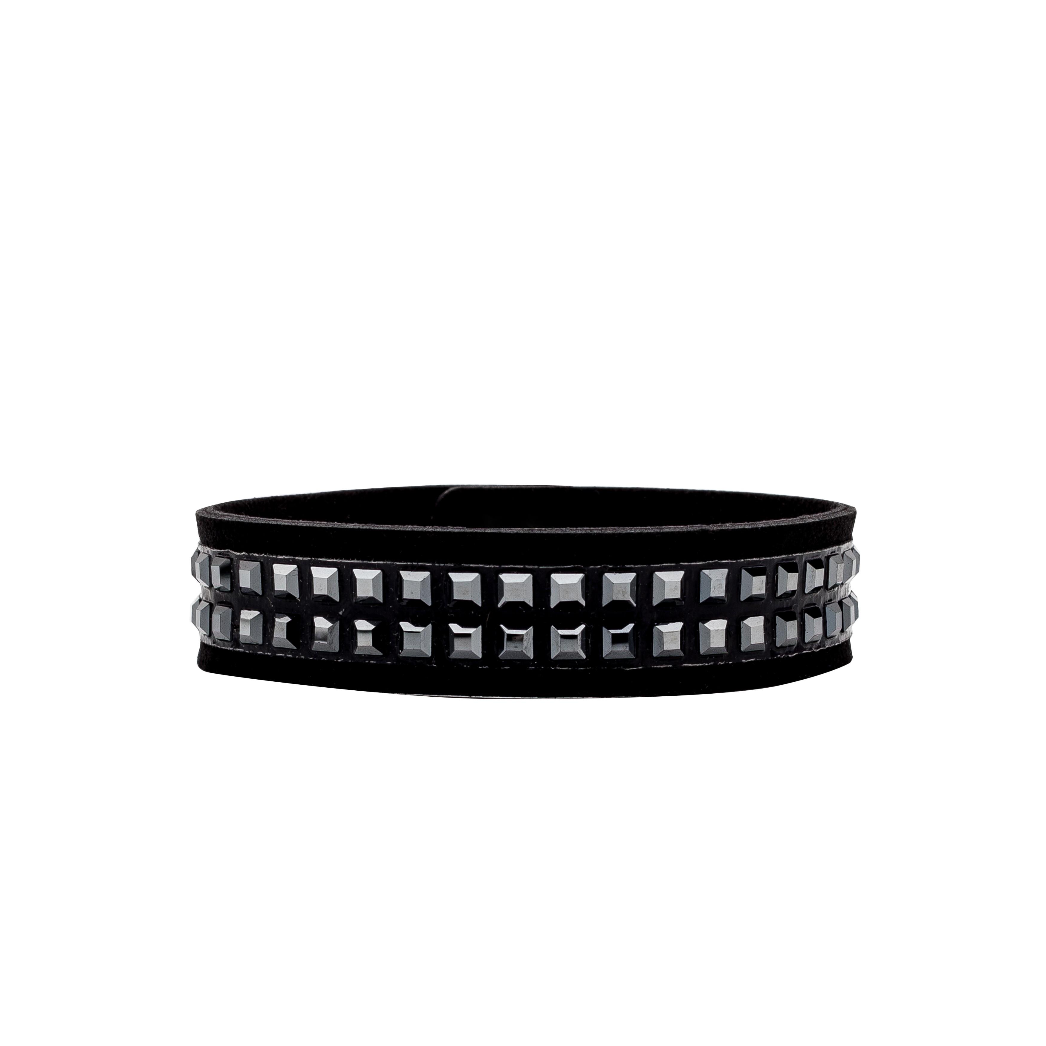 Italian Alcantara bracelet with Swarovski stones - MODEL 3