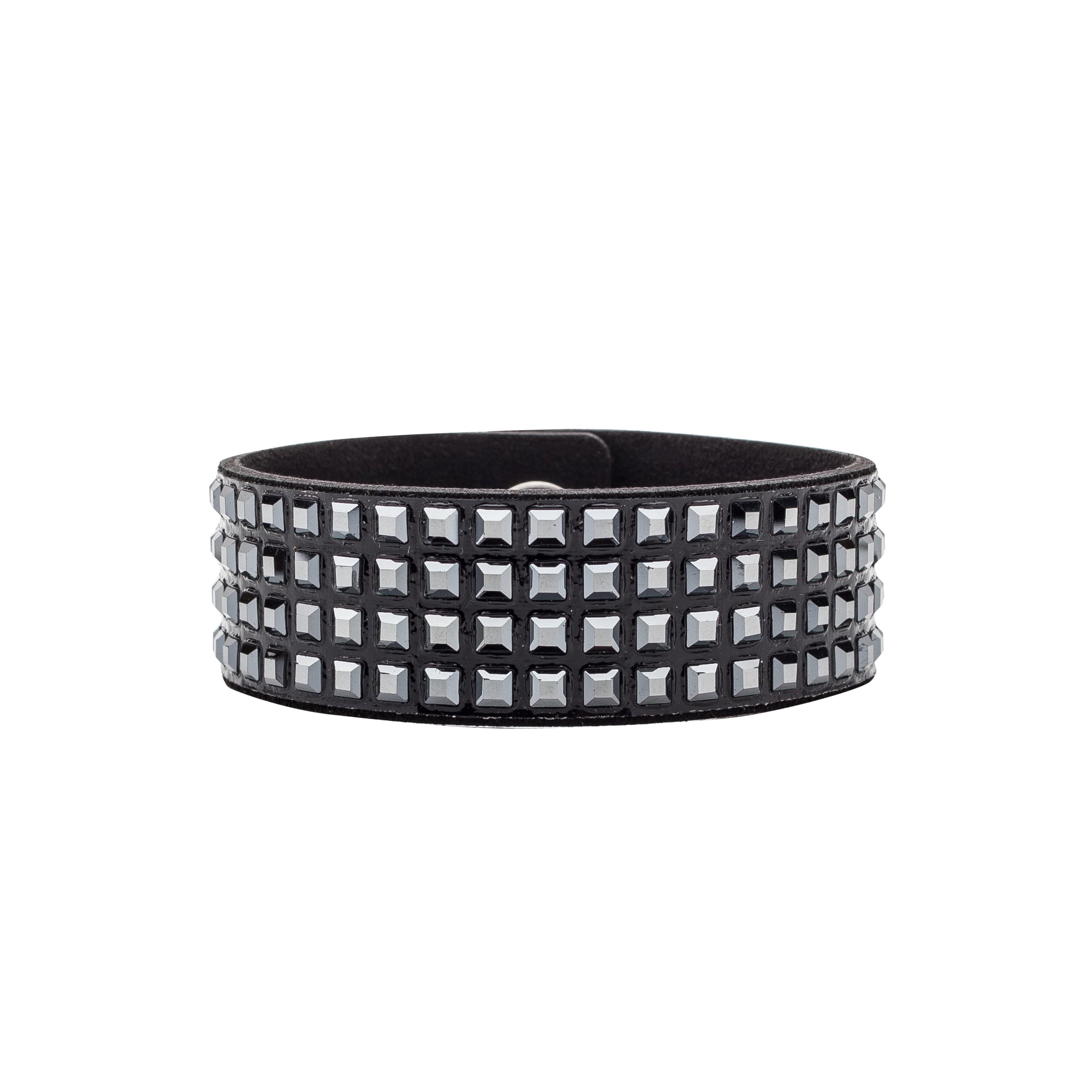 Italian Alcantara bracelet with Swarovski stones - MODEL 4