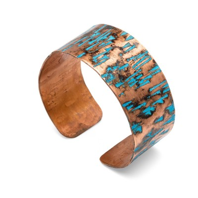 Miedziana wsuwana bransoletka z turkusowym wzorem