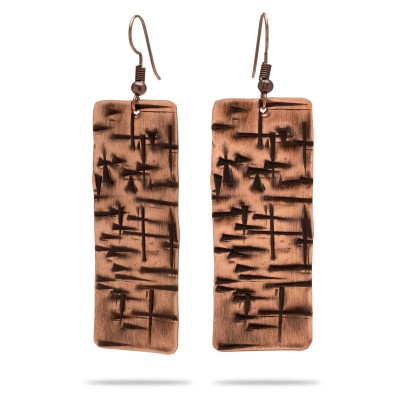Copper earrings with cross shape