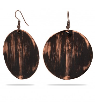 Copper earrings with leopard print