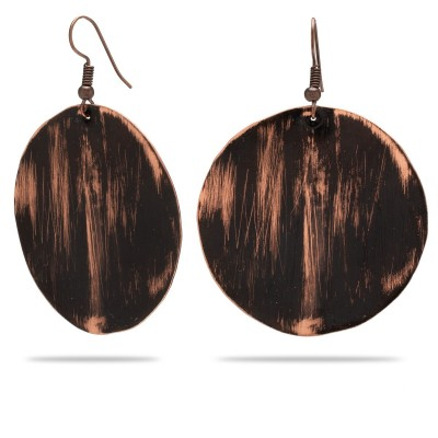 Miedziane okrągłe kolczyki z czarnym wzorkiem