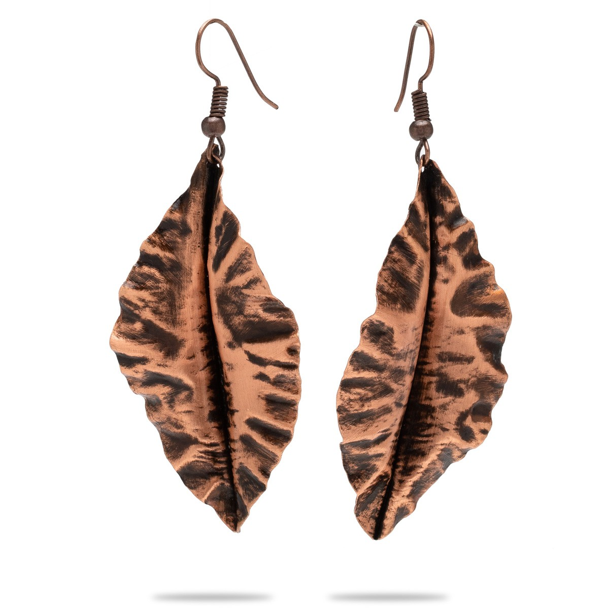 Copper leaf earrings with turquis shape