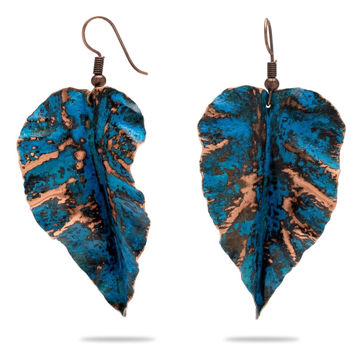 Miedziane kolczyki turkusowy liść