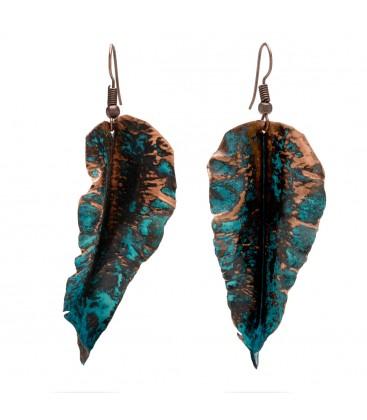 Copper leaf earrings with black shape