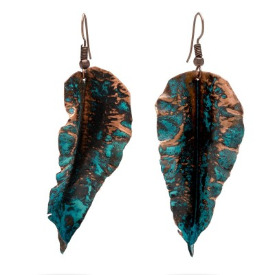 Copper leaf earrings with black shape