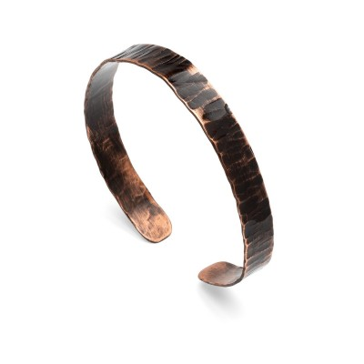 Copper bracelet with black shape