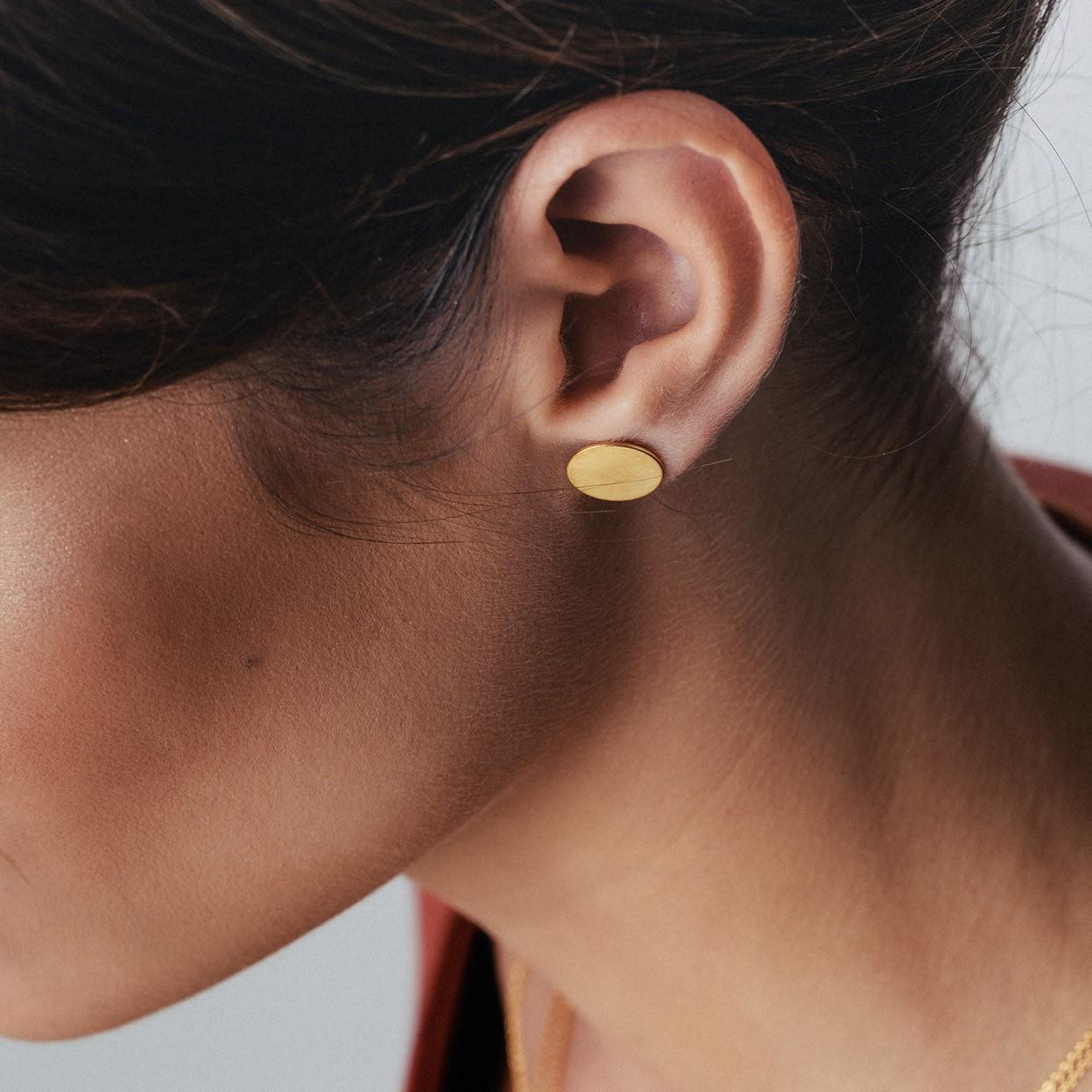 14K GOLD ROUND EARRING, MODEL 933