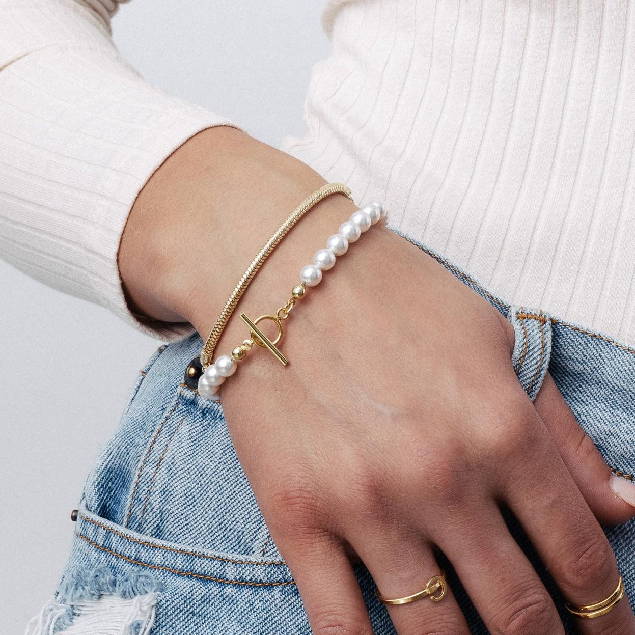 Perłowa bransoletka do charmsów srebro 925, Swarovski