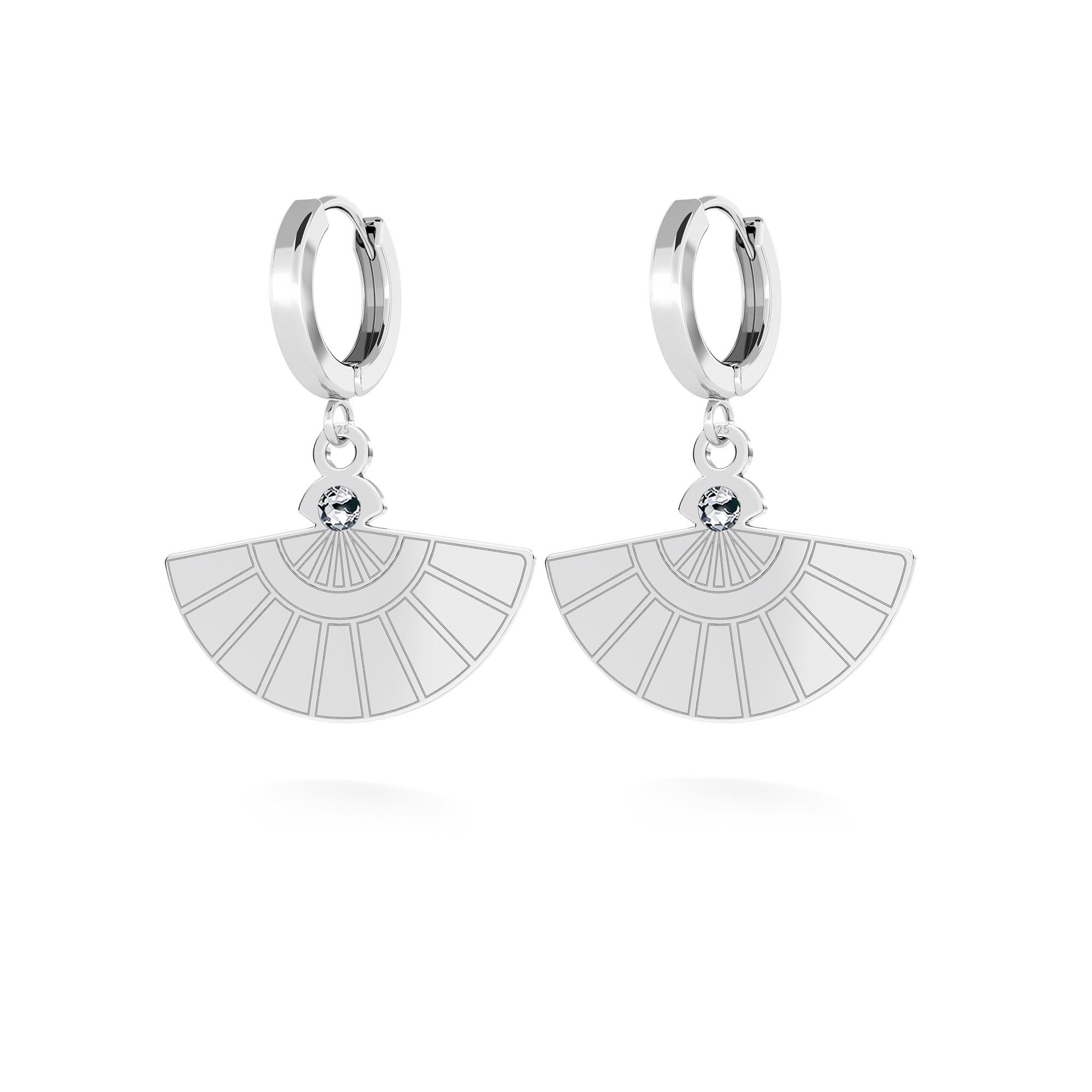 Hoop earring, hand fan with Swarovski Crystal, MON DÉFI sterling silver 925