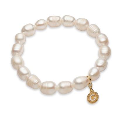 Elastyczna srebrna bransoletka białe perły słodkowodne 925