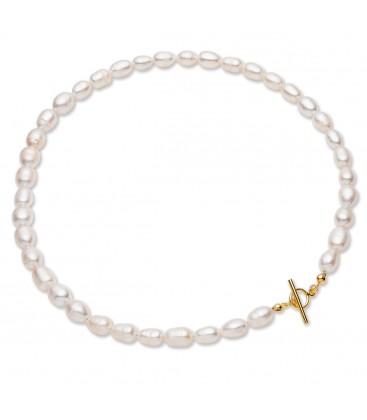 Gargantilla de perlas blancas de agua dulce, plata de primera ley 925